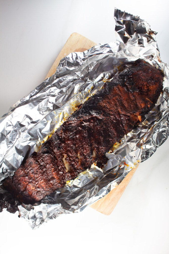 Keto BBQ ribs wrapped in tin foil
