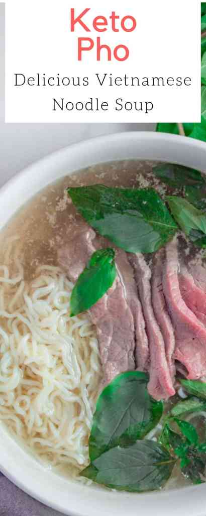 his easy keto noodle soup is made using a rich beef broth and is served with thinly sliced flank steak. | #keto #soup #easy #recipe #dinner #pho