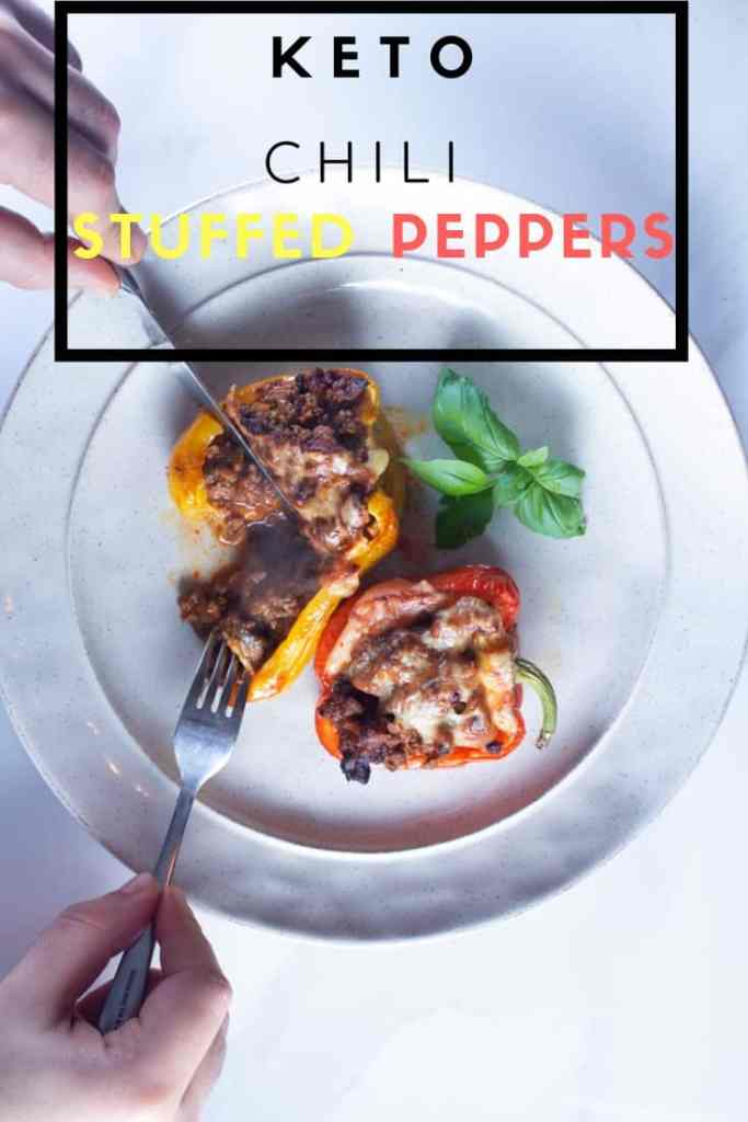 These Keto Chili Stuffed Peppers strike a perfect Balance between Spicy and Savory. Easy and Straightforward Recipe | #Keto #low-carb #healthy #cozy | Brokefoodies.com