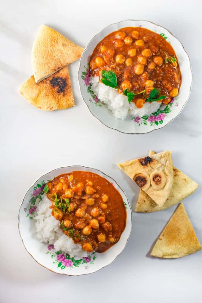 Chana Masala Served with rice and naan