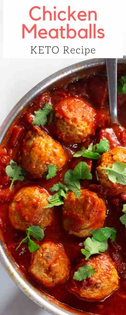 This chicken meatball dinner is both keto and paleo. The meatballs are moroccan spiced and are served in a delicious sweet tomato sauce