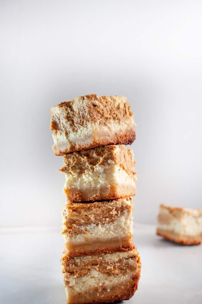 Keto Pumpkin Cheesecake Bars short stack