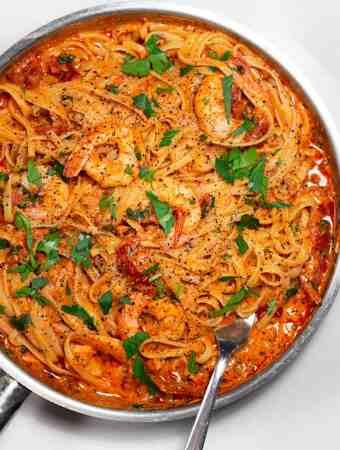 Sun dried tomato pasta in a skillet
