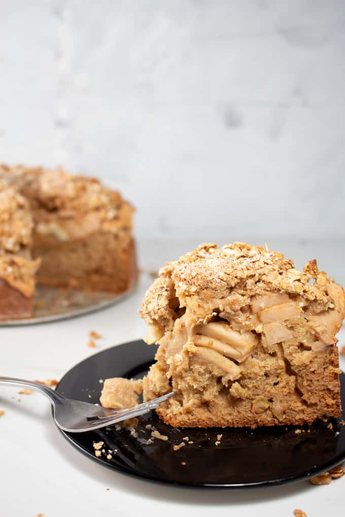 Apple Crumb Cake Sliced served on dark plate