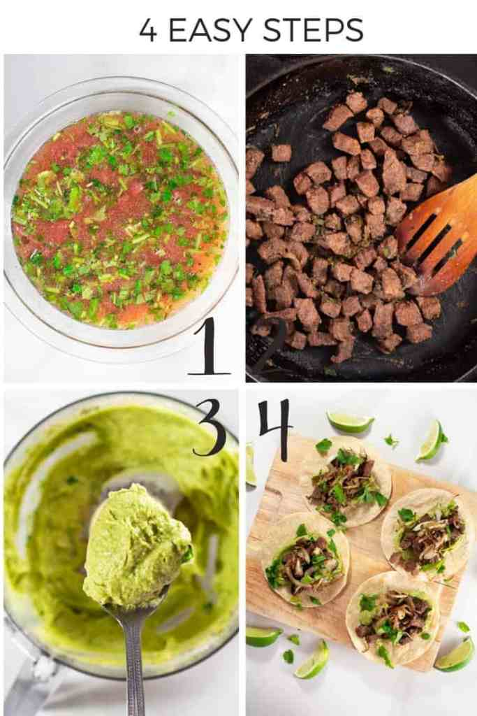 How to make beef tacos collage