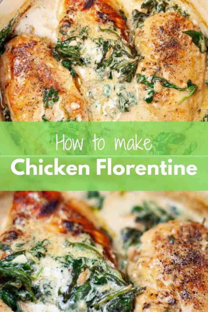Do you like one pan dinner recipes ? This easy Chicken Florentine recipe is for you. Seared chicken breasts and a rich, creamy garlic & spinach sauce make this one of the most comforting dishes you can possibly make at home. And did I mention that you can get it ready in less than 30 minutes ?  #Dinner #Recipe #Easy #Chicken #Florentine  | Brokefoodies.com