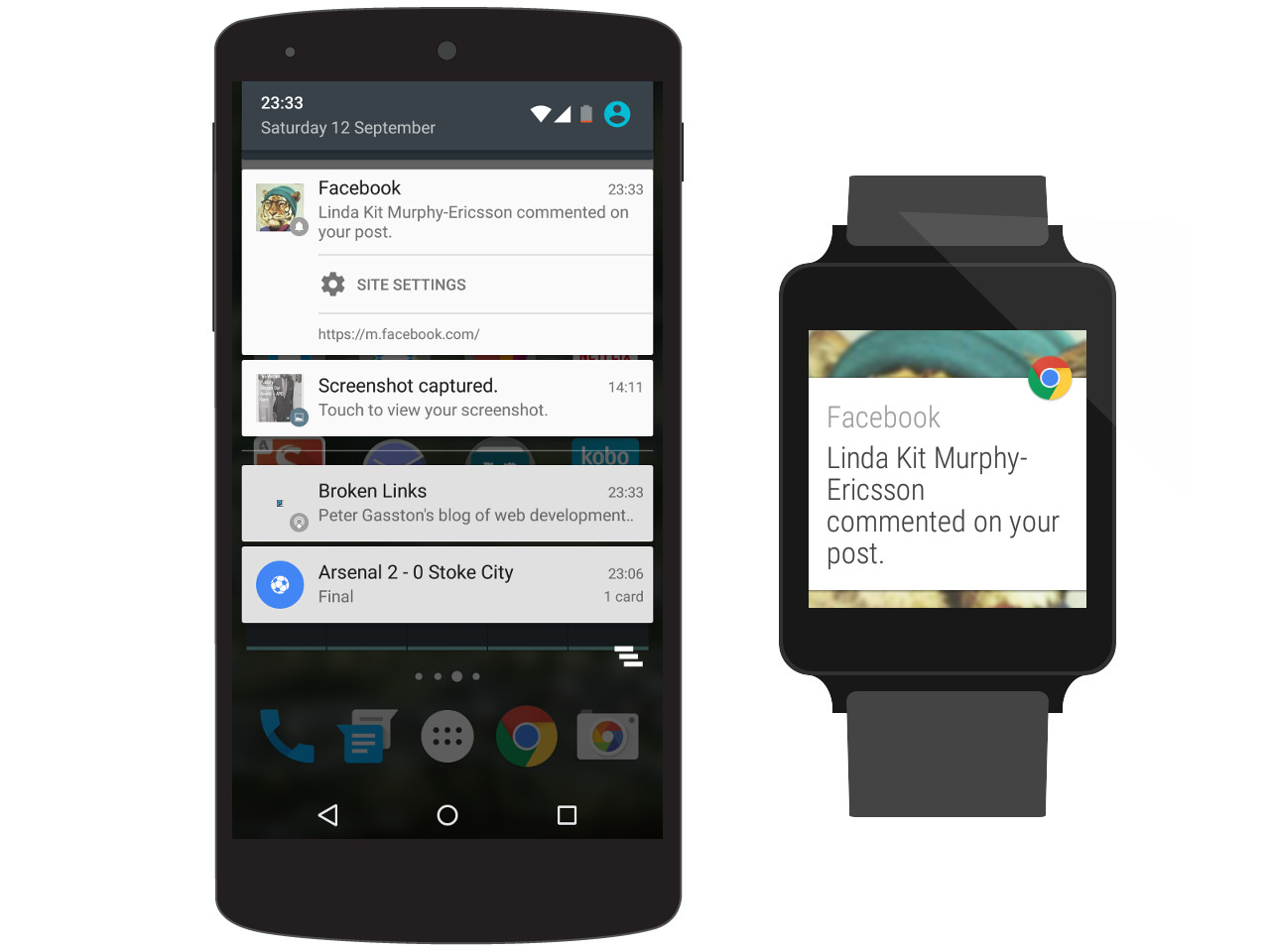 Android phone and watch showing a Facebook notification