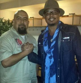 Art Meza & Terrance Howard backstage at the George Lopez show
