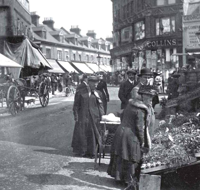 market stalls and shops with awnings