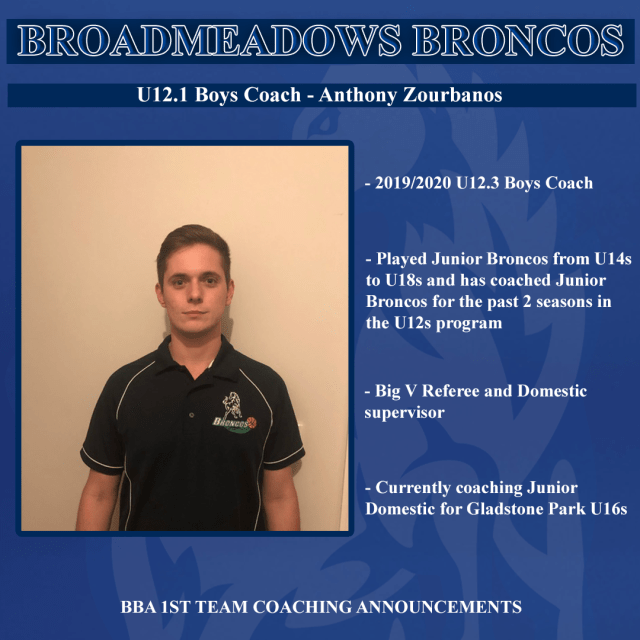 Broadmeadows broncos vjbl 2020 2021 season 1st team coaching announcements