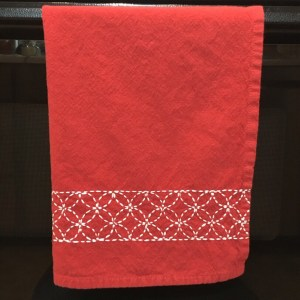 Sashiko Embroidered Towel