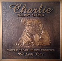 Pet Bronze Plaque. Add a bronze plaque to a special outdoor place of comfort or flower bed to help you reminisce and relive fond memories for years to come. Displaying your bronze plaque outdoors is not a problem due to the durability of the product.