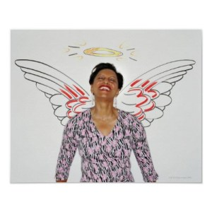 woman against wall with angel wings