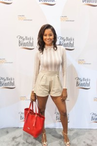 Claudia Jordan stopped by the My Black is Beautiful Booth at Essence Festival 2016 resized