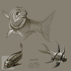 iPad Pro sketches of fish and reptiles 19th March '17