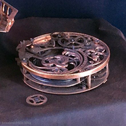 Closeup of the big cog (I sculpted the filigree detail part only) Beauty & the Beast movie props at the El Capitan Theatre