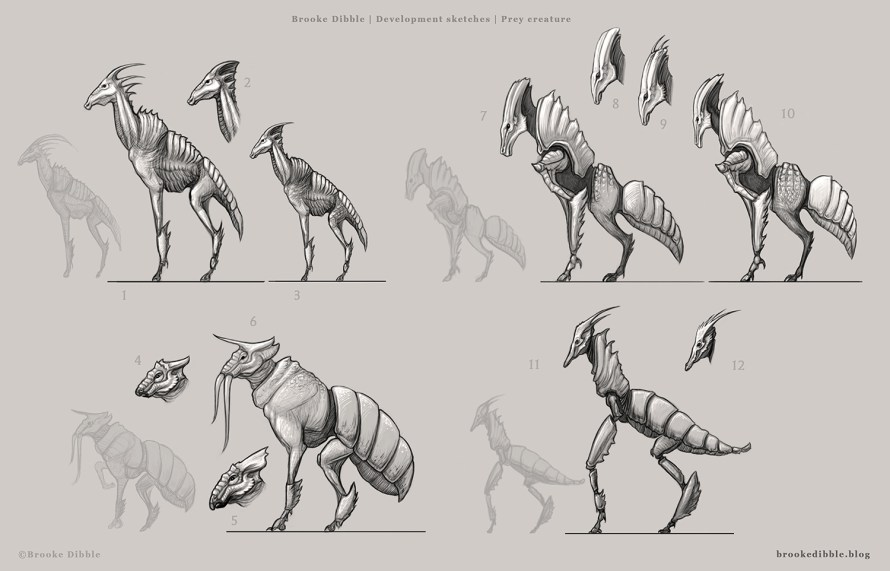 Creature design thumbnail sketches