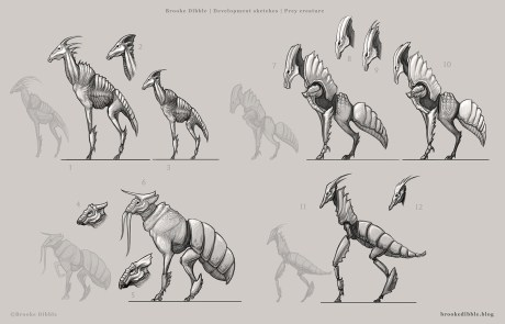 Prey creature thumbnail sketches - March/April 2017