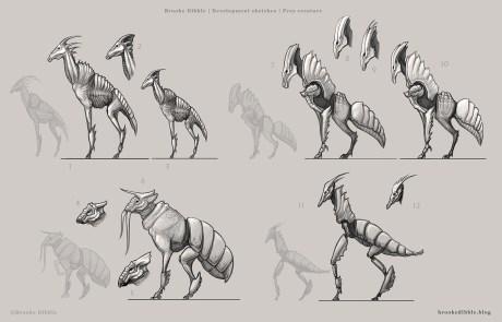 Prey creature thumbnail sketches - March/April 2017