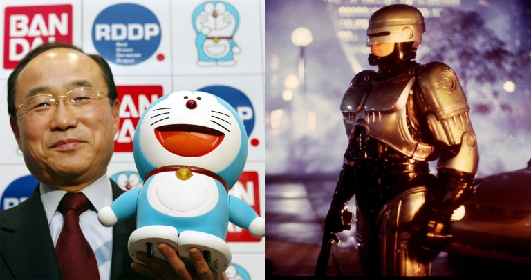 Doreamon toy robot and Robocop