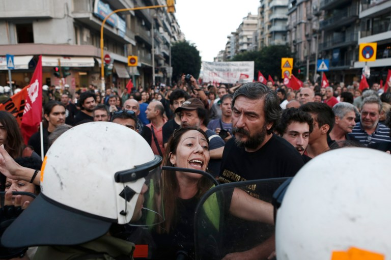 Protester during rally against austerity measures in Greece.
