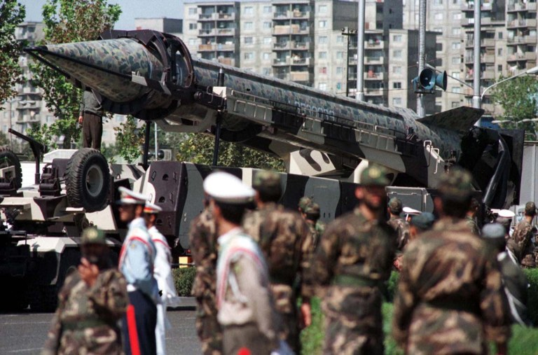 Iran's Shahab-3 medium range missile is pictured in this September 25, 1998 file photo at a military parade in Tehran. REUTERS/Damir Sagolj