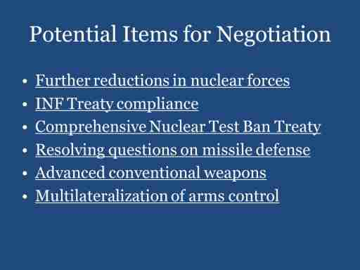 Potential Items for Negotiation