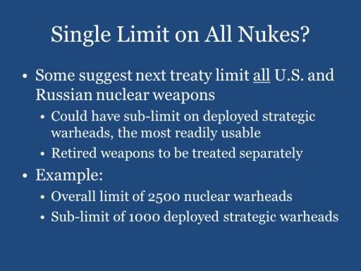Single Limit on All Nukes?