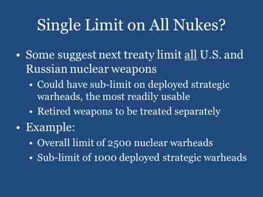 Single Limit on All Nukes?