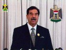 Iraqi President Saddam Hussein is seen delivering an address to the nation in this frame grab from Iraqi TV broadcast Augsut 8, 2002