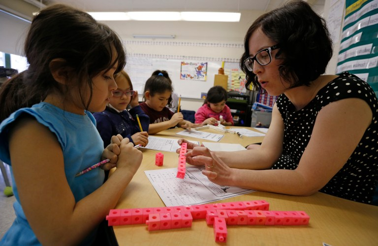 Teacher Jenna Rosenberg speaks to her first grade class at Walsh Elementary School in Chicago, Illinois