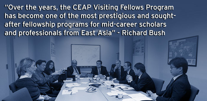 Over the years, the CEAP Visiting Fellows Program has become one of the most prestigious and sought-after fellowship programs for mid-career scholars and professionals from East Asia. Richard Bush.
