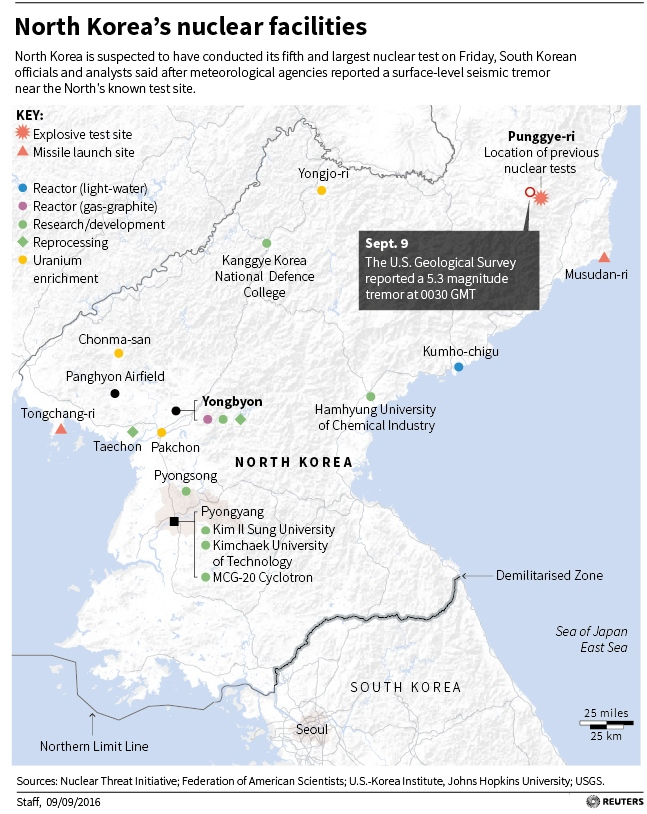 Map locating North Korea's nuclear facilities.