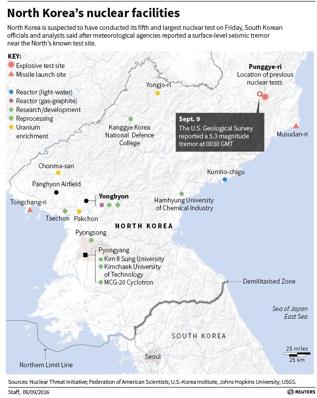 Map locating North Korea's nuclear facilities.