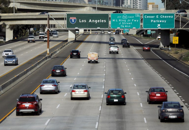 Cars travel north towards Los Angeles on interstate highway 5