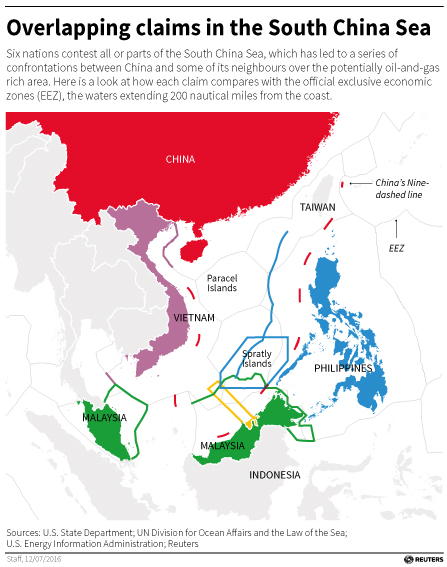 Map showing the overlapping claims by country on the South China Sea.