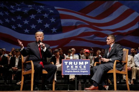Republican presidential nominee Donald Trump (L) speaks along side retired U.S. Army Lieutenant General Mike Flynn during a campaign town hall meeting in Virginia Beach, Virginia, U.S., September 6, 2016. REUTERS/Mike Segar - RTX2OE5F