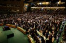 Attendees applaud at the conclusion of remarks at the opening ceremonies of the Paris Agreement on climate change held at the United Nations Headquarters in Manhattan, New York, U.S., April 22, 2016. REUTERS/Brendan McDermid  - RTX2B8B2