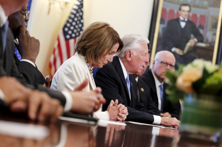 U.S. House Minority Leader Nancy Pelosi (D-CA) (C) listens to comments by fellow Democratic leaders to reporters about their willingness to hold bipartisan budget negotiations with their Republican counterparts, at the U.S. Capitol in Washington September 8, 2015. The White House said on Tuesday the U.S. Congress would contribute to instability if it does not pass a budget. REUTERS/Jonathan Ernst - RTX1RPID