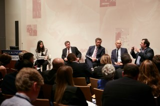 Panelists from the Brookings Cities and Refugees Forum: (l-r) Lara Setrakian; Mayor Georgios Kaminis; Michael Berkowitz; Volker Türk; M Mazen Darwish