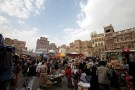 People browse items at the old market, ahead of the Eid Al-Adha festival, in the historic city of Sanaa, Yemen September 11, 2016. REUTERS/Mohamed al-Sayaghi - RTSN91T