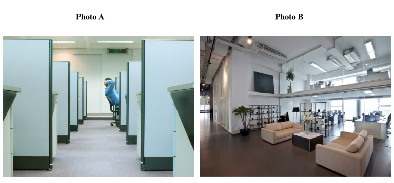 istock photos of 1) an office full of cubicles 2) a modern office with open coworking space