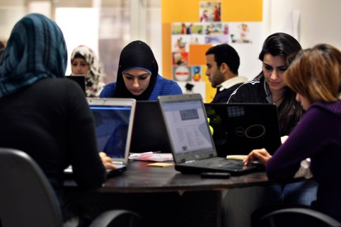 Young entrepreneurs work on their laptops at the Amman-based Oasis 500, a seed investment firm which finances start-up firms in the region's information technology sector, November 2, 2011. Across the Middle East and North Africa, the Arab Spring uprisings have hurt many businessmen. Economies have slowed sharply as political uncertainty deters investment, new governments focus on trying to restore social stability instead of reforming economic policy, and labour unrest disrupts production and drives up costs. Oasis 500's Executive Chairman Usama Fayyad said governments had become more careful about appearing even-handed towards companies, even in countries that have been relatively untouched by the Arab Spring. In the long term, though, a cleaner, fairer business environment could, even more than other economic reforms such as deregulation and fiscal policy changes, help to solve one of the Arab world's biggest problems: job creation. A more level playing field could spur the growth of similar small and medium-sized firms. Picture taken November 2, 2011. To match Mideast Money ARAB-BUSINESS/SPRING REUTERS/Muhammad Hamed