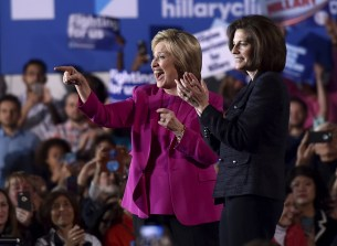 U.S. Democratic presidential candidate Hillary Clinton (L) appears on stage with Nevada Senate candidate Catherine Cortez Masto at a campaign rally at the Laborers International Union hall in Las Vegas, Nevada February 18, 2016. REUTERS/David Becker/File Photo - RTSK54Q