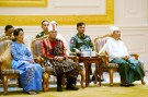 Aung San Suu Kyi (L) and vice presidents Henry Van Thio (2nd L) and Myint Swe attend the handover ceremony from outgoing President Thein Sein and new Myanmar President Htin Kyaw at the presidential palace in Naypyitaw March 30, 2016. REUTERS/Ye Aung Thu/Pool  - RTSCSB9