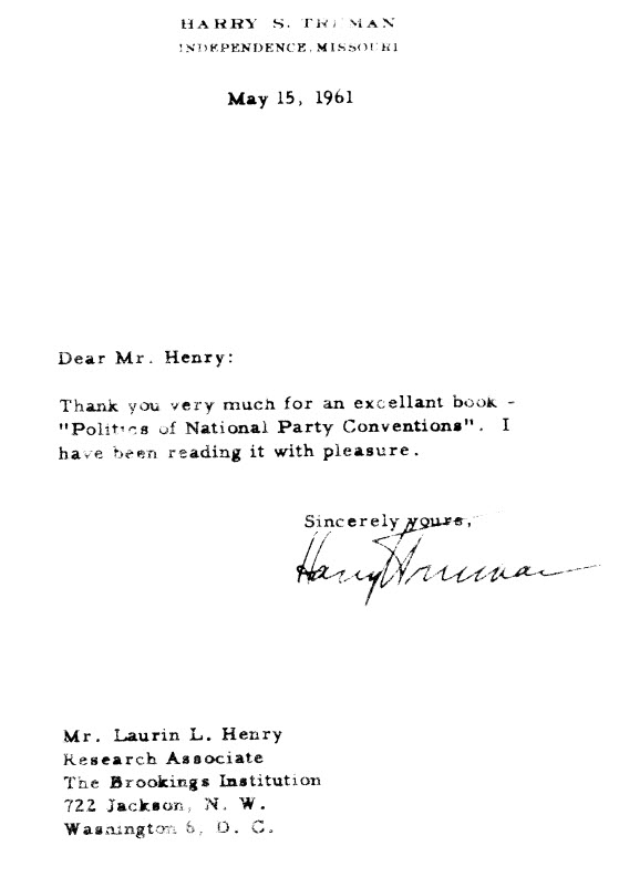Letter from Harry Truman to Laurin Henry, May 15, 1961
