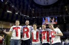 Liberty University students and supporters of U.S. Republican presidential candidate Donald Trump wear letters spelling his name before his speech at Liberty University in Lynchburg, Virginia, January 18, 2016.      REUTERS/Joshua Roberts - RTX22Y4G