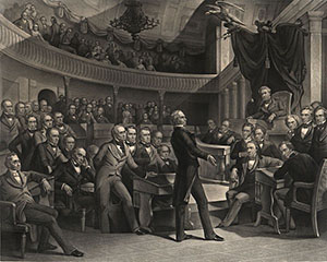 "This engraving by Peter F. Rothermel, ""The United States Senate, A.D. 1850,"" depicts ""the Great Compromiser"" Henry Clay introducing the Compromise of 1850 on the floor of the Old Senate Chamber. {{PD-US}}"