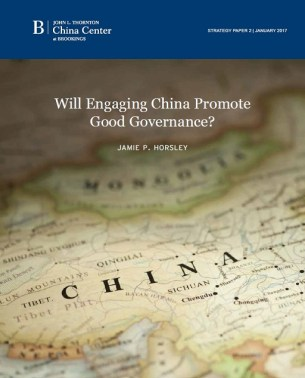 """Cover of """"Will Engaging China Promote Good Governance?"""" by Jamie P. Horsley"""