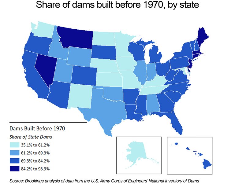 Map, Share of Dams Built Before 1970, By State